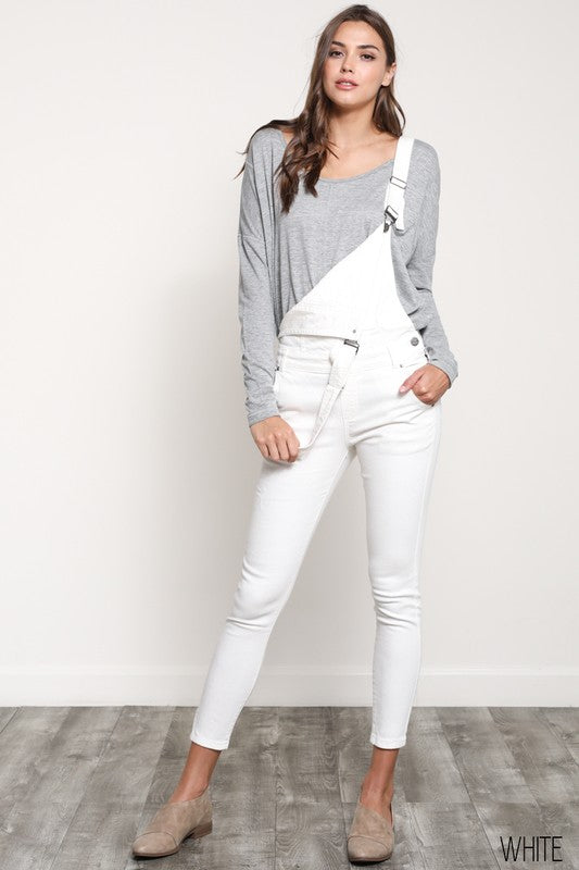 Stretchy Skinny-Fit White Denim Overall - Hippie Vibe Tribe