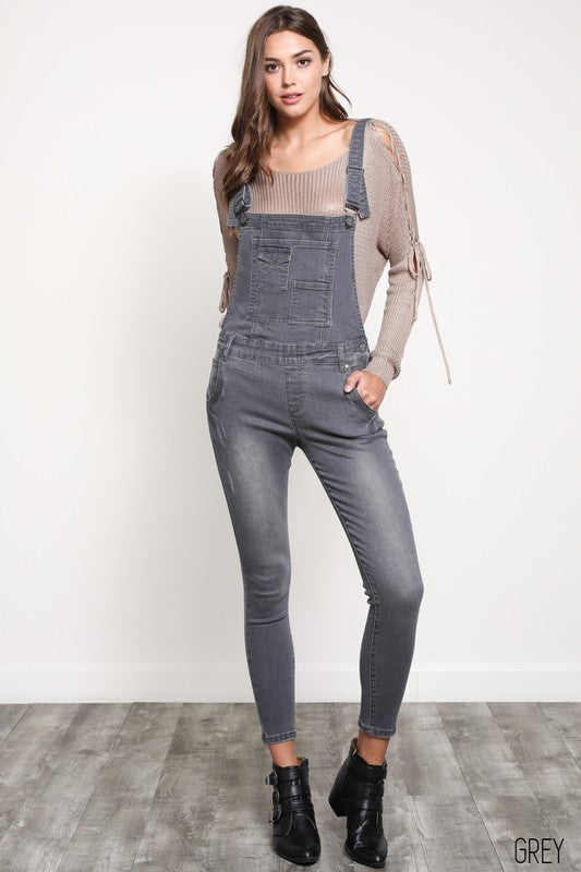 Stretchy Skinny-Fit Grey Denim Overall - Hippie Vibe Tribe