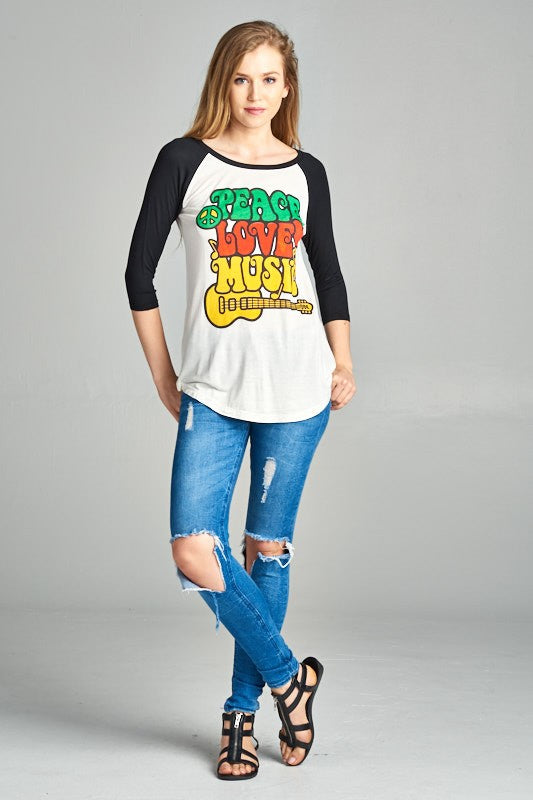 Peace Love & Music Baseball Tee - Hippie Vibe Tribe