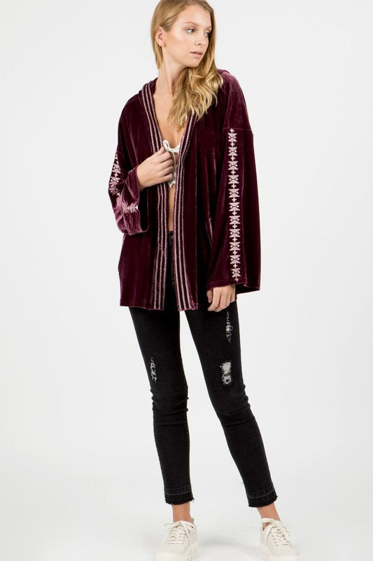 Long Velvet Hooded Jacket (Copy) - Hippie Vibe Tribe