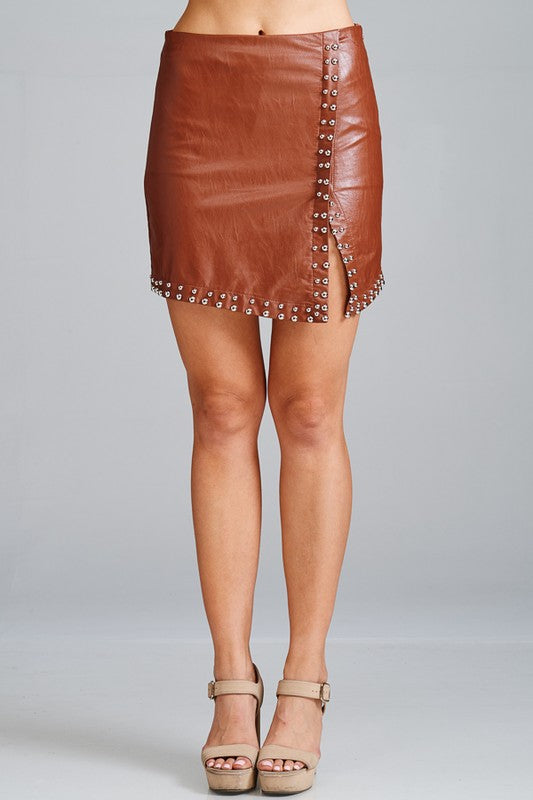 Faux Leather Studded Wrap Mini Skirt - Hippie Vibe Tribe