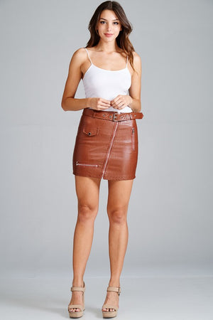Faux Leather Belted /Zipper Mini Skirt - Hippie Vibe Tribe