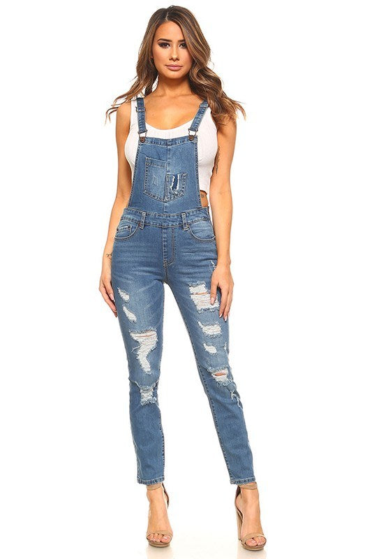 Stretchy Skinny-Fit Denim Overall - Hippie Vibe Tribe