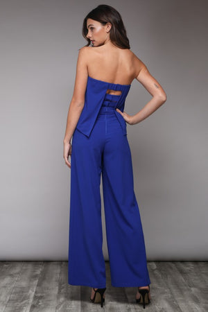 Cobalt Blue Strapless Jumpsuit with Three Band Back - Hippie Vibe Tribe