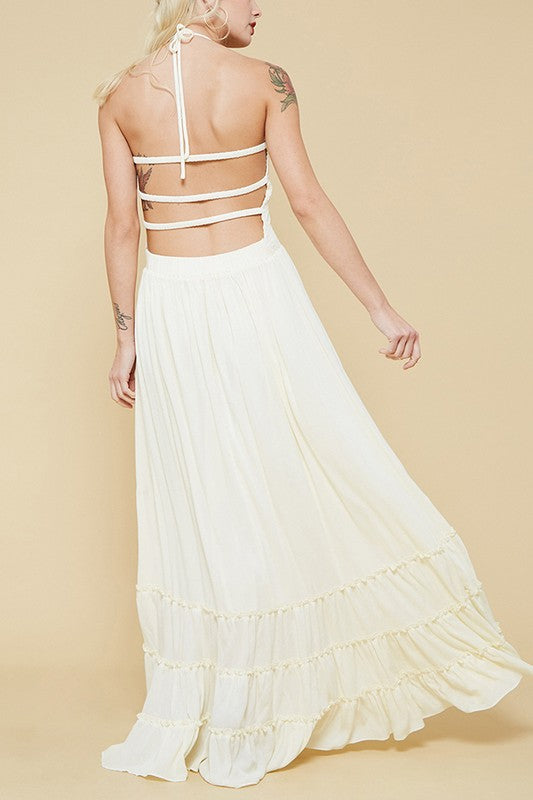 Ivory Free Spirit Smocked Bodice Maxi Summer Dress - Hippie Vibe Tribe