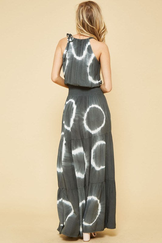 Charcoal  Tie -Dye Maxi Dress - Hippie Vibe Tribe