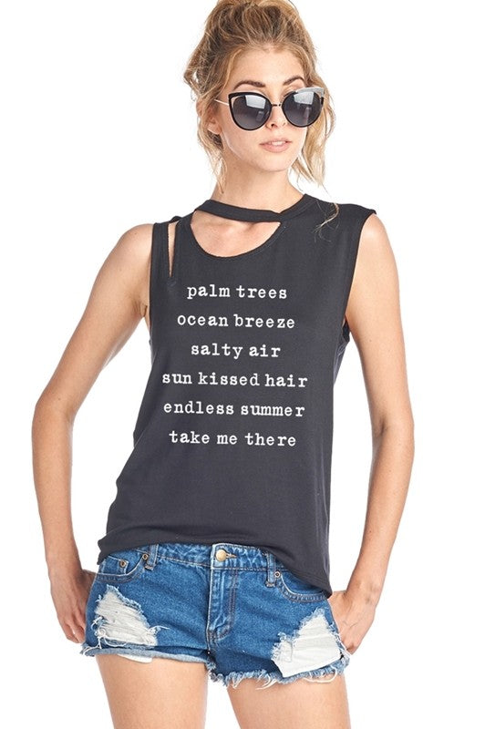 """Palm Trees, Ocean Breeze ""Black Womens T-Shirt - Hippie Vibe Tribe"