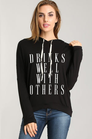 """Drinks Well With Others"" Hi-Low Hoodie Long Sleeve Tunic - Hippie Vibe Tribe"