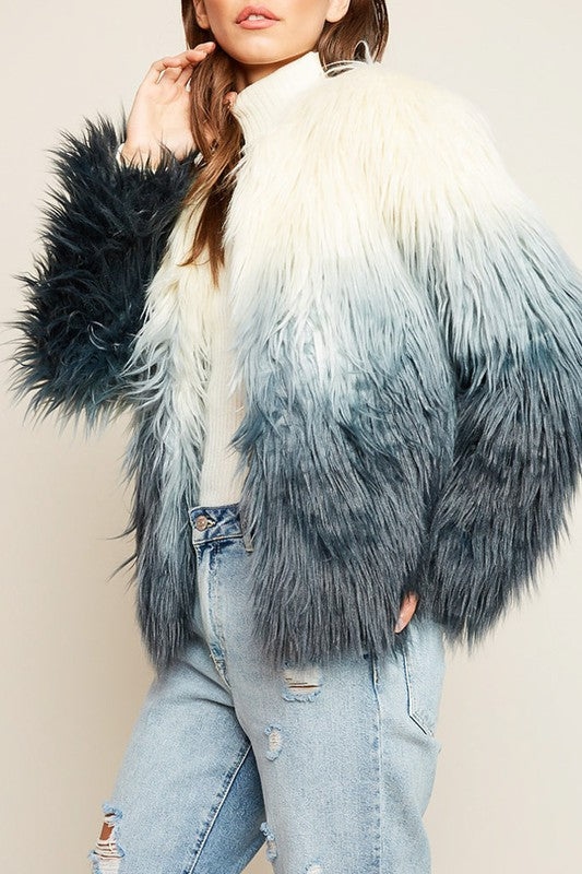 Ombre Faux Fur Coat - Hippie Vibe Tribe