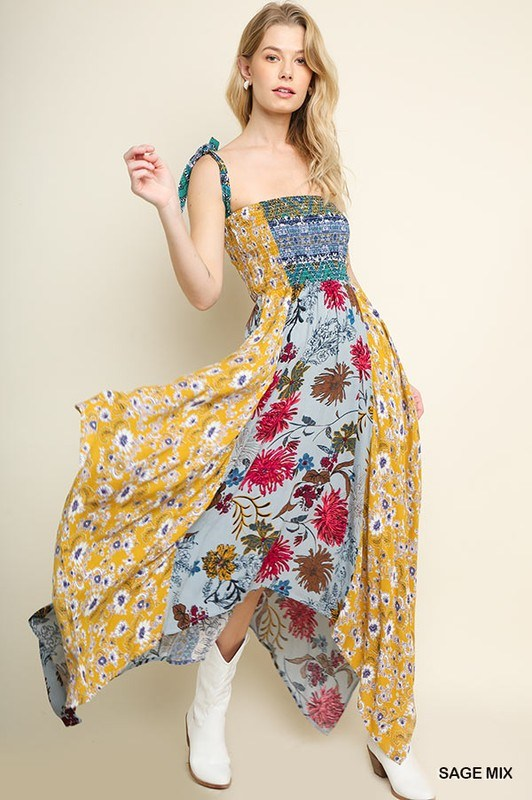 Scarf Dress  Sage Floral - Hippie Vibe Tribe
