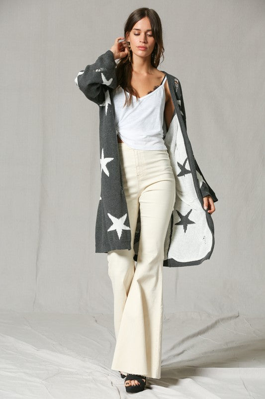 Long Sleeve Tunic Cardigan with Stars - Hippie Vibe Tribe