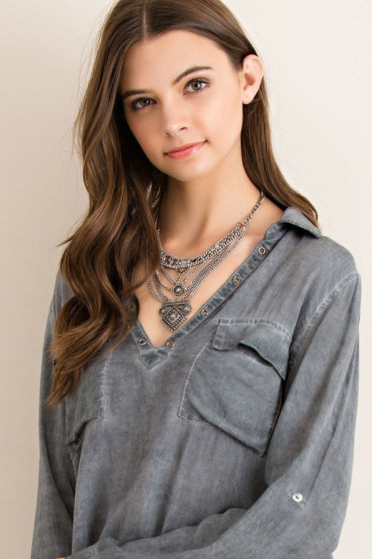 Stressed  Charcoal  Long Sleeve Blouse - Hippie Vibe Tribe