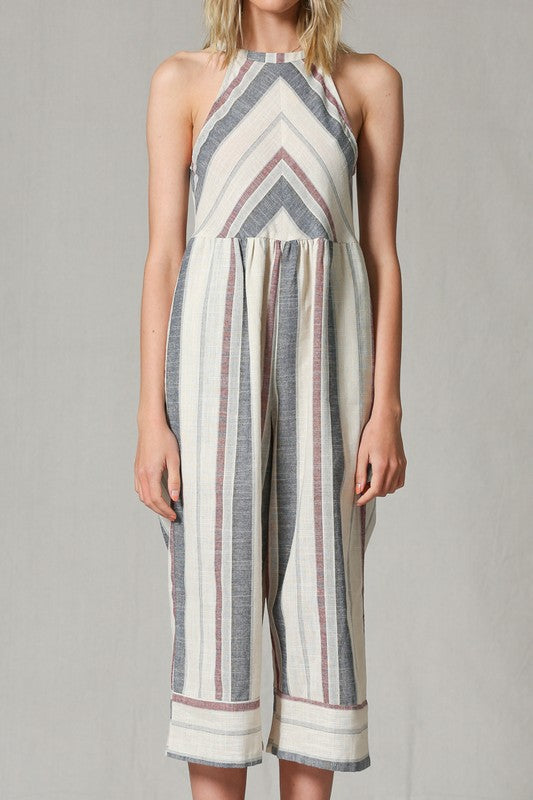 Halter Stripped Jumpsuit - Hippie Vibe Tribe