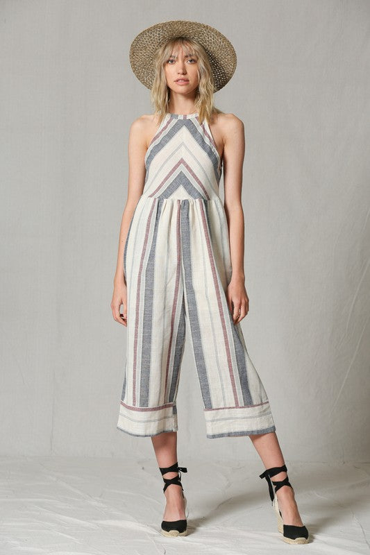 Halter Striped Jumpsuit - Hippie Vibe Tribe