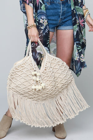 Macrame Canvas Shoulder Bag - Hippie Vibe Tribe