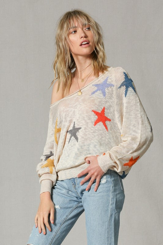 Knit Multi Color Star Pullover - Hippie Vibe Tribe