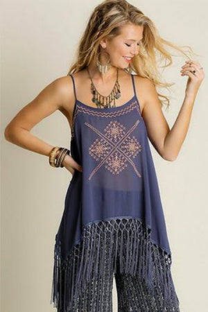 Blue Sheer Fringe Top - Hippie Vibe Tribe