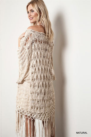 Tassel Woven Cream Boho Chic Sweater - Hippie Vibe Tribe