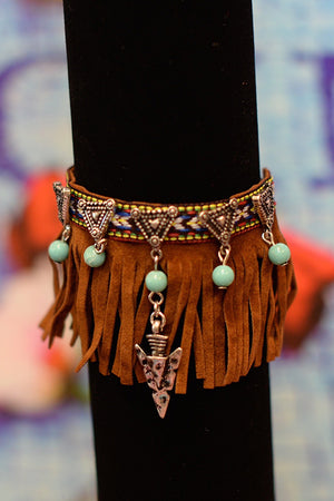 Suede Fringe Arm Band - Hippie Vibe Tribe