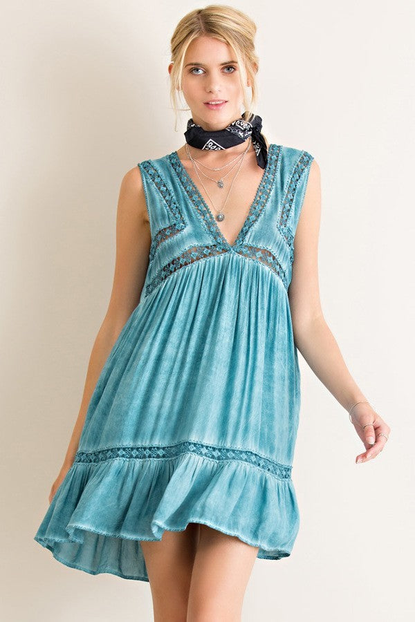 Acid Wash Sleeveless Peasant Dress - Hippie Vibe Tribe