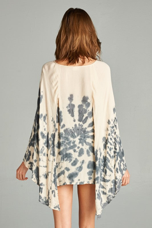 Acid Wash Blouse Butterfly Sleeves - Hippie Vibe Tribe