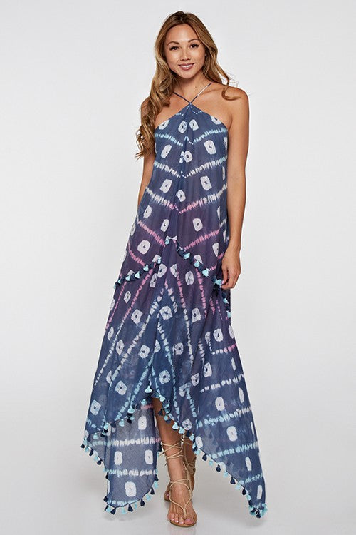 Moroccan Blue Scarf Dress - Hippie Vibe Tribe