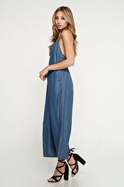 Denim Lightweight Wide Leg Jumpsuit - Hippie Vibe Tribe