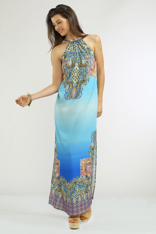 Halter Pierce Print Dress - Hippie Vibe Tribe
