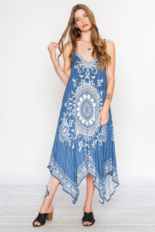 Scarf Hem V-Neck Pierce Dress - Hippie Vibe Tribe