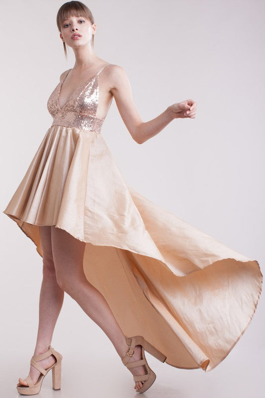 Champagne and Black Sweetheart Maxi Gowns - Hippie Vibe Tribe