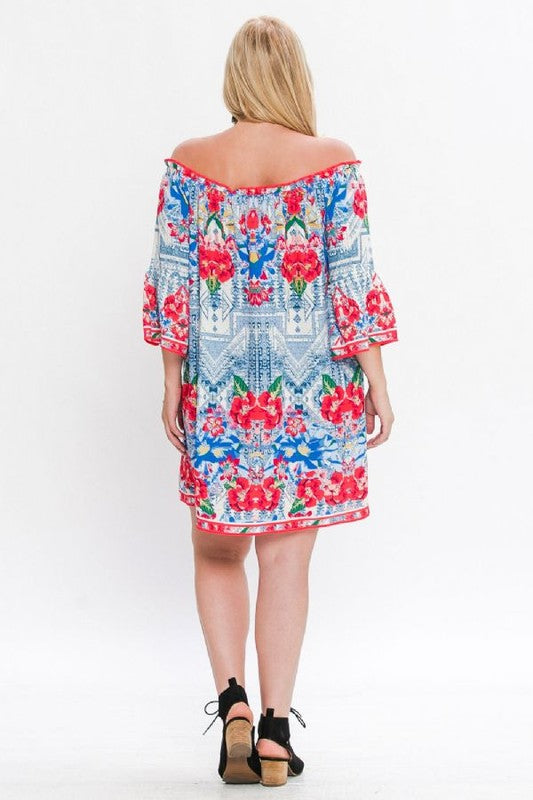 Floral Cold Shoulder Dress - Hippie Vibe Tribe