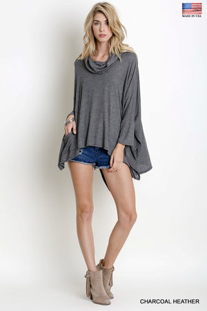 Grey Cowl Neck Sweater Top - Hippie Vibe Tribe