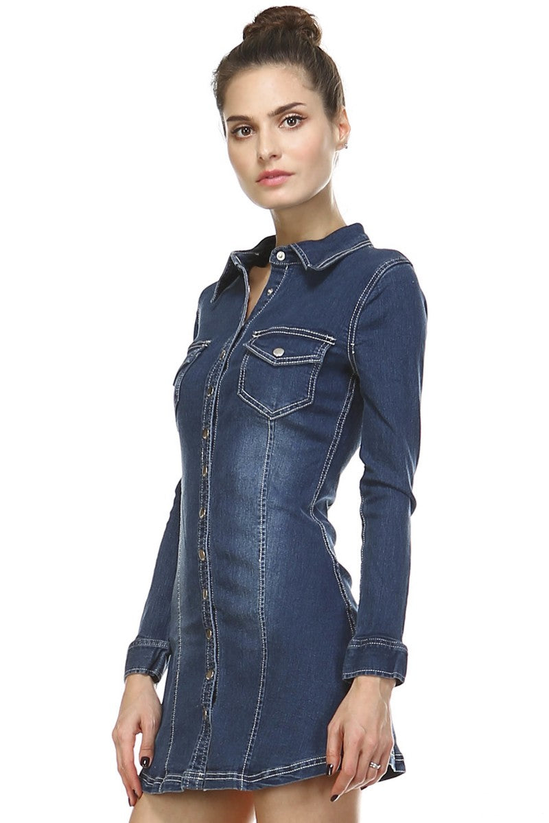 Classic Denim Mini Dress - Hippie Vibe Tribe