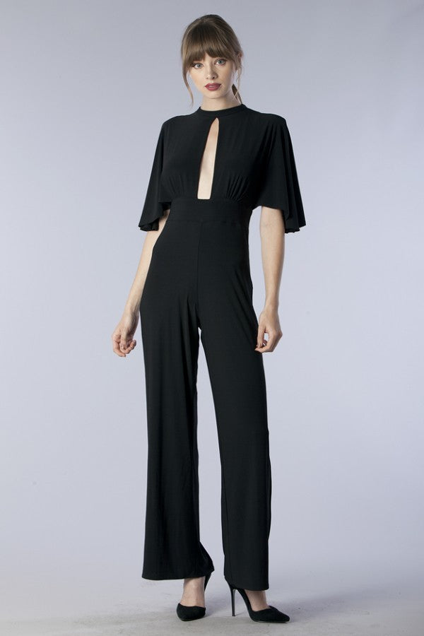 Black Front Slit Jumpsuit - Hippie Vibe Tribe