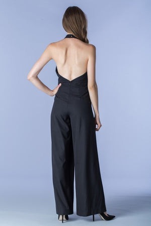 Black Flared Halter Jumpsuit - Hippie Vibe Tribe