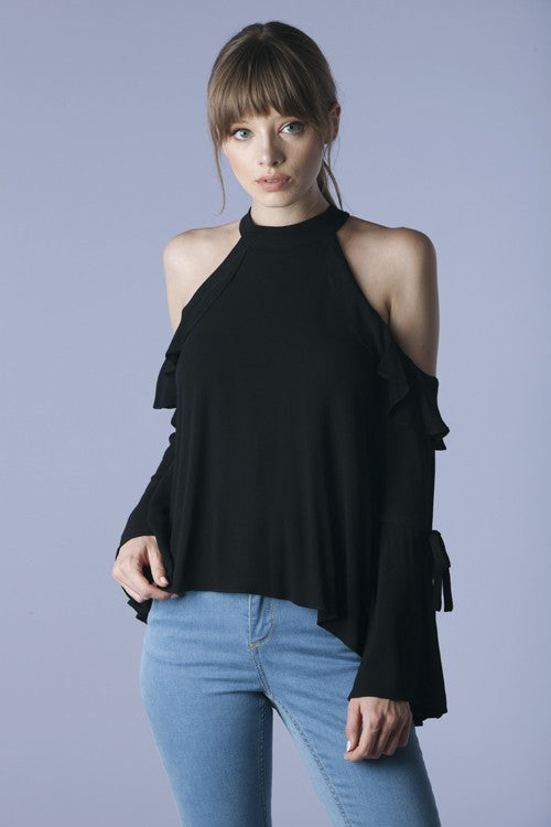 Ruffled Cold Shoulder Blouse - Hippie Vibe Tribe
