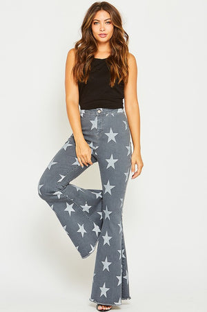 Star Printed Flare GREY Denim Jeans - Hippie Vibe Tribe