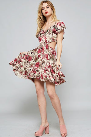 Flower Side-Cut Floral Mini Dress - Hippie Vibe Tribe