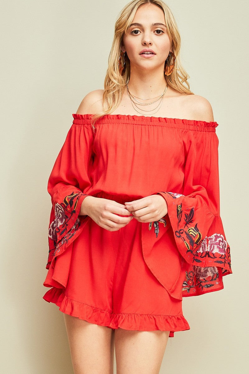 Embroidered Bell Sleeves Shorts Romper - Hippie Vibe Tribe
