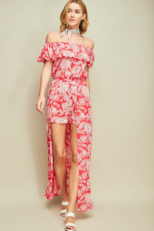 Red Paisley Off-Shoulder Romper - Hippie Vibe Tribe