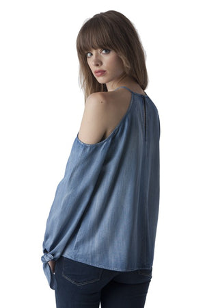 Denim Open Shoulder Dream Blouse - Hippie Vibe Tribe