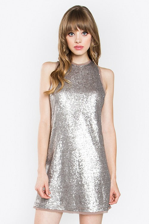 Silver Sequence Mini Dress - Hippie Vibe Tribe
