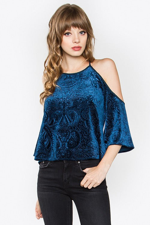 Velvet Open Shoulder Top - Hippie Vibe Tribe