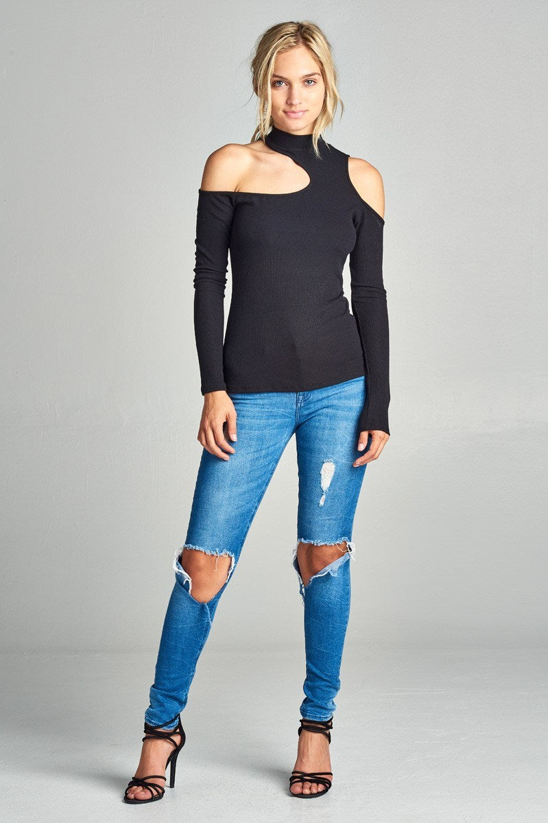 Mock Neck Black Cold Shoulder Top - Hippie Vibe Tribe