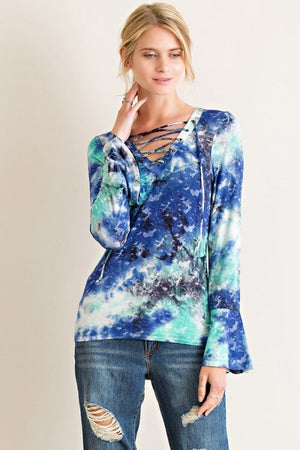Tie-Dye Long Sleeves with lace up. - Hippie Vibe Tribe
