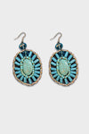 Turquoise Silver Beaded,Moon Earings - Hippie Vibe Tribe