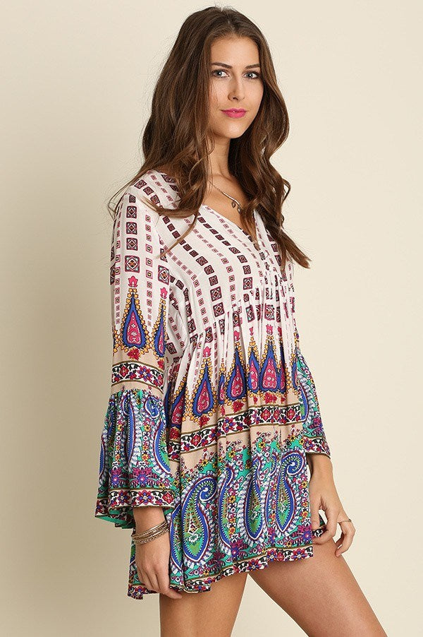 Bohemian Paisley Peasant Dress - Hippie Vibe Tribe