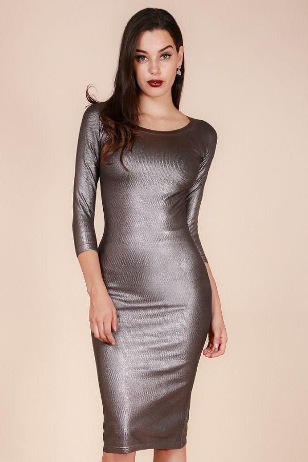 Gun Metal Color Sweater Dress - Hippie Vibe Tribe