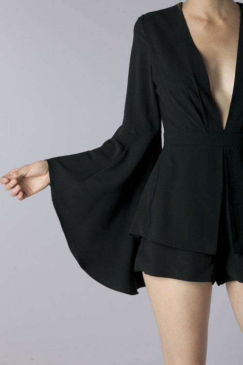 Deep V-Neck Romper Bell Sleeves - Hippie Vibe Tribe