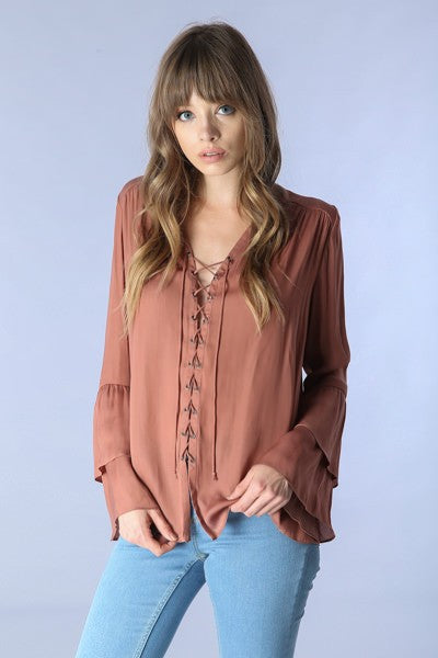 Ruffle Sleeve Lace Up Blouse - Hippie Vibe Tribe